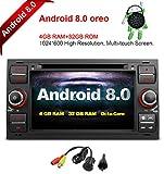 Freeauto für FORD Fokus II C-Max S-Max Galaxie Kuga Fusion Tramsit Fiesta Connect 7 Zoll Android 8.0 Multi-Touchscreen Autoradio Radio DVD-Player GPS CANbus Bildschirm Spiegelfunktion OBD2 Octa-Core 64Bit 4G RAM 32 GB ROM mit freier Rückfahrkamera