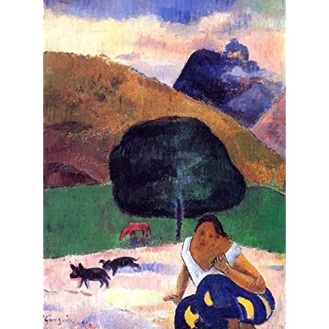 Reproduccion pintada a mano/Pintura al oleo - 15 x 20 inches / 38 x 51 CM - Paul Gauguin - Landscape with black pigs and a crouching Tahitian