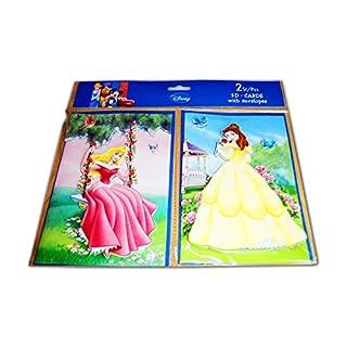 Anik-Shop 2X 3D GRUßKARTE Disney mit 2X Umschläge Geburtstagkarte Einladung 6-Motiven (Prinzessin)