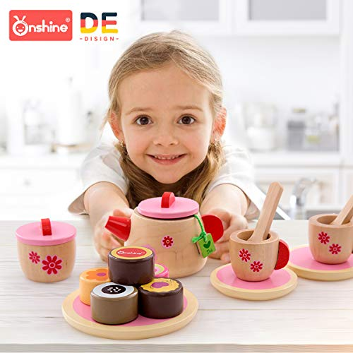 Onshine Wooden Tea Set for Toddlers Wooden Kitchen Toy 18 PCS for Toddlers Play Kitchen Accessories Wooden for Children
