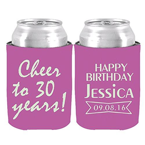 Happy Birthday kann personalisiert Kühler Cooler Name und Jahren Flasche Bier Kühler 2-er Set für Geburtstag Party