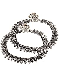 Shining Diva Oxidised Silver Jewellery Payal Traditional Anklets for Women & Girls(Antique Silver)(7495a)
