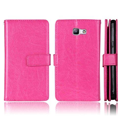 Flip Samsung Galaxy A510 A5 2016 Fall Folio Case Solid Farbe Premium Synthetik-Leder-Kasten-Standplatz-Mappen-Kasten-Kasten mit 9 Karten-Bargeld-Slots für Samsung Galaxy A510 A5 2016 ( Color : Pink ,  Pink