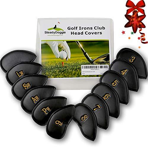 Cubiertas para palos de golf, serie Iron - Cuero sintético grueso de alta calidad con correa de velcro - Cubierta de cabeza bordada en 3D en ambos lados - Adecuada para damas, caballeros y juniors diestros / zurdos.