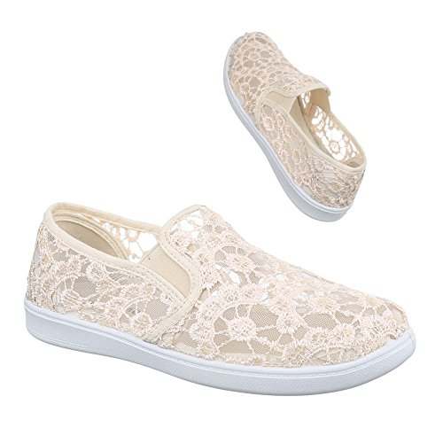 Damen Schuhe Spitze Freizeitschuhe Schnürer Sneakers Low Top Ital-Design Beige