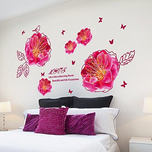 MiniWall Ehe Zimmer Tv Hintergrund Wände sind eingerichtete Schlafzimmer mit einer warmen Atmosphäre und gemütlichen Blume Wand Papier Rose Blume Aufkleber, das Wohlbefinden der Peach Blossom, König entfernt werden kann (Blossom König)