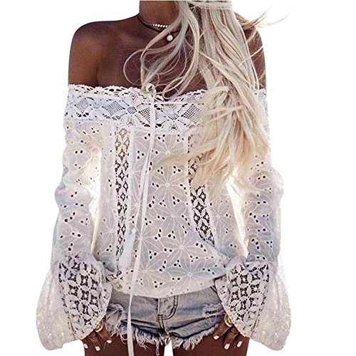 KOKOUK Sexy Elegant Women Off Shoulder Long Sleeve Lace Loose Blouse Tops T-Shirt Plus Size -