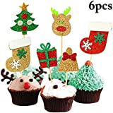 Coxeer Christmas Cake Topper Assorted Patterns Cupcake Topper Party Cake Topper