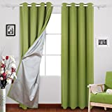 Deconovo Eyelet Curtains Ready Made Room Darkening Thermal Insulated Ring Top Blackout Curtains for Living Room with Backside Silver Backing to Reflect Sunlights 46 Width x 90 Drop Light Green 1 Pair