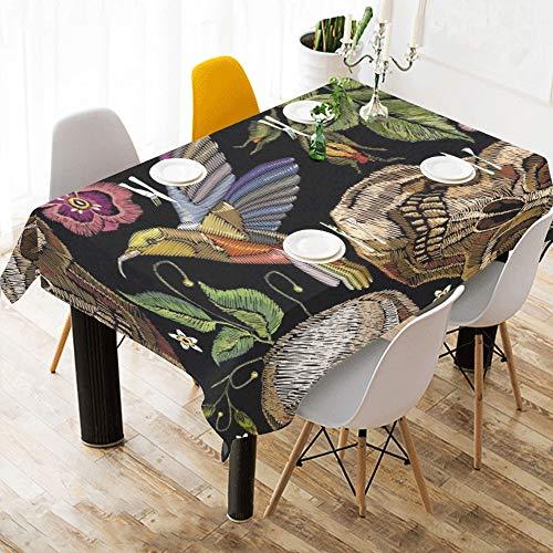 Yushg Kopf Schädel Mexiko Amerika Stil Baumwolle Leinen Gedruckt Platz Fleck Beständig Tischwäsche Tuch Benutzerdefinierte Abdeckung Tischdecke Für Küche Haus Esszimmer Tischplatte Decor 60 X 84 Zoll