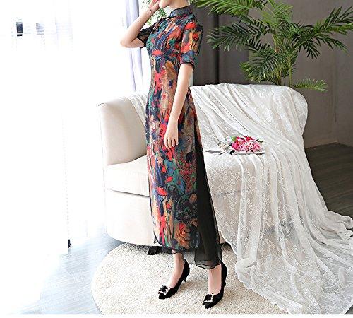 ACVIP Retrò Cheongsam Lungo Stile Cinese Tradizionale Vestito Chiffon Marrone