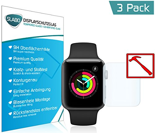 Slabo 3 x Premium Panzerglasfolie für Apple Watch Series 3 (42mm) Panzerschutzfolie Schutzfolie Echtglas Folie Tempered Glass KLAR 9H