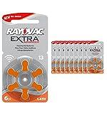 60 piles auditives Rayovac 13 Extra advanced / pile auditive PR48 / piles pour appareils auditifs / 13AE,A13,DA13,P13,PR13H