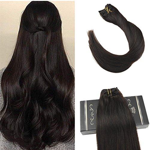 Ugeat 7pcs clip in human hair extensions 120grammi/set extensions capelli marrone scuro #2 estensioni dei capelli umani dritti veri remy hair 16inch/40cm