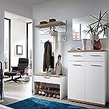 Lomadox Garderoben Set Flurgarderobe Flurmöbel Garderobe in weiß, Sonoma Eiche, Schuhschrank, Spiegel, Schuhbank und Paneele