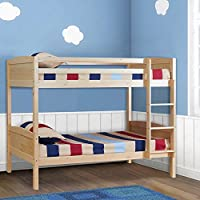 UEnjoy 198 x 151.6 x 101.5 cm 3FT Solid Pine Wood Double Single Bunk Beds Frame Splits Into 2 Single Beds