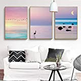 N/A zszyHome Prints Painting Nordic Style Sea Scenery Pictures Wall Art Canvas Poster For Bedside Background-50x70cmx3 pcs no frame