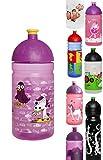 ISYbe Trinkflasche 500ml HundKatzeMaus, lila-transparent, schadstofffrei, spülmaschinengeeignet, auslaufsicher