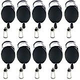 Amaoma 10 Stück Schlüssel Jojo Ausweis Jojo mit Gürtelclip Schlüsselband Ausziehbar Schlüsselanhänger Ausziehbar Key mit Extra Starker Feder und Reißfester Schnur für Schlüssel Ausweise, Schwarz