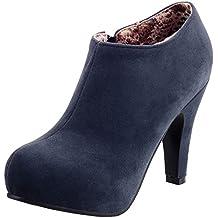 RAZAMAZA Mujer Botines Tacones altos Moda Zapatos Cremallera de Botas