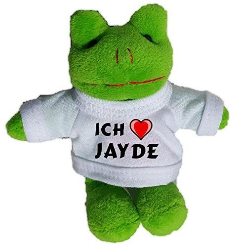 Jayde Bekleidung (Plüsch Frosch Schlüsselhalter mit einem T-shirt mit Aufschrift mit Ich liebe Jayde (Vorname/Zuname/Spitzname))