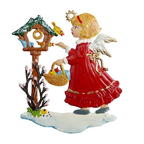ZinngeschenkeEngel am Vogelhäuschen aus Zinn beidseitig von Hand bemalt (HxB) 6,0 x 5,5 cm, Christbaumschmuck