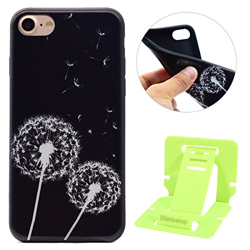 iphone 7 4.7 Silicone Cover, Custodia per iphone 7 Morbido, iphone 7 Nera Cover, Ekakashop Fashion Moda Painting Fiori Animal Colorato Pattern 3d Gel Silicone Gomma Soft TPU Ragazza Women Black Cover Dente di leone