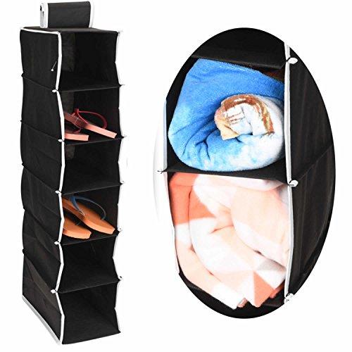LS-LebenStil 2X Hänge-Aufbewahrung 6 Fächer 84cm x 16cm x 30cm Kleiderschrank Aufbewahrung Hängeregal Organizer Aufbewahrungssystem - schwarz - Utensilo Organizer Ordnungssystem