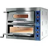 GGF Pizzaofen mit zwei Kammern 1010 x 850 x 750 mm 12 kW 400 V aus pulverbeschichtetem Stahl Schamottboden Kammerbeleuchtung Entlüftungskamin