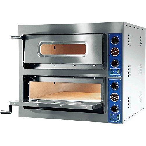 GGF Pizzaofen mit zwei Kammern 900 x 1020 x 750 mm 14,4 kW 400 V aus pulverbeschichtetem Stahl Schamottboden Kammerbeleuchtung Entlüftungskamin