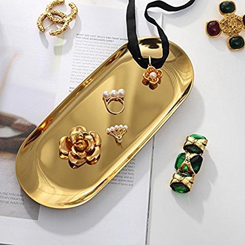 Coolper Endstahl Handtuchablage Tee Tablett Obst Trays Schmuck Goldene ovale Platte Schmuck Ornamente kleine Schale Edelstahl Snack Platte Metall Ablage (Gold, 23 * 9.4cm) (Gold) -