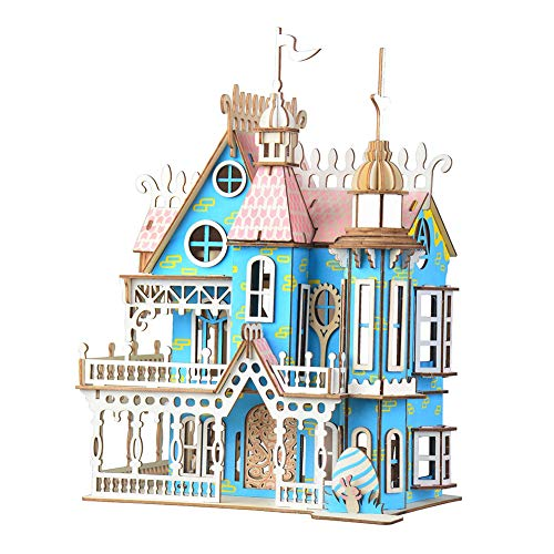 Ruiting 3D Puzzle Holz Haus, Villa Gebäude DIY Montage Spielzeug Kinder Erwachsene 20 * 17,3 * 27,7cm Villa 1 Stück