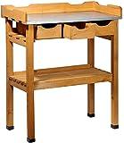 dobar 29030e tavolo Pratico piantare con 3 cassetti e 2 ripiani in legno di pino impregnato, 80 x 40 x 90 cm