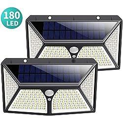 180 LED Luz Solar Exterior, Kilponen [Versión Mejorada 2500mAh] Foco Solar Exterior con Sensor de Movimiento Luces Solares Jardín Gran Ángulo 270ºde Iluminación Lámpara Solar Impermeable 2-Paquete