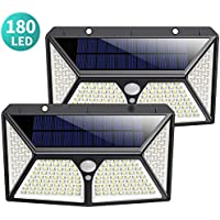 Solar Lights Outdoor 180 LED, [2500mAh High Capacity Super Bright] Kilponene Solar Security Lights Motion Sensor 270º Solar Powered Lights Wall Lights Waterproof with 3 Modes for Outside (2 Pack)