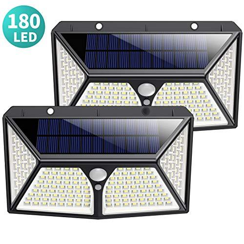 Kilponen 180 LED Luz Solar Exterior proporcionan una iluminación excelente que cubre el área de iluminación más amplio. Hasta un 30% de tasa de conversión fotovoltaica alcanza una carga eficiente. Diferente de otro sensor de ángulo pequeño, nuestro s...