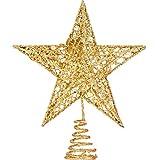 Bememo 8 Pulgadas de Estrella Adorno de Árbol de Navidad Brillante Exquisito Topper de Estrella para Decoración de Árbol de Navidad (Dorado)