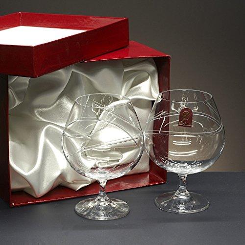 Set/Estuche de 2 copas de cristal para coñac o brandy, talladas a man