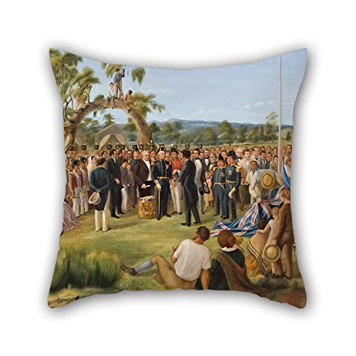 Peinture à l'huile Charles Hill – La Proclamation de l'Australie-méridionale 1836 couvertures d'oreiller, pour Noël, Mari, Fils, siège Auto, Noël, Wife 50,8 x 50,8 cm/50 par 50 cm (Deux côtés)