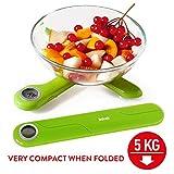 Tatkraft Compact - Balance de Cuisine Electronique Pliante 5 kg - Fonction Tare - Précision 1 gramme - Taille Poche - Vert