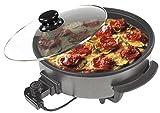 Sogo SS-10070Poêle à paella/pizza multifonction avec couvercle en verre 1500W Base antiadhésive Noir Diamètre 42cm Profondeur 9cm