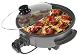 Sogo SS-10070 - Multicazuela/Paellera/Pizza Pan con Tapa de cristal, Diámetro 42cm, Profundidad 9cm, 1500W, Base Antiadherente, Color Negro