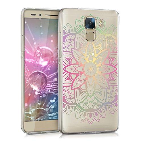 kwmobile Huawei Honor 7 / Honor 7 Premium Hülle - Handyhülle für Huawei Honor 7 / Honor 7 Premium - Handy Case in Mehrfarbig Pink Transparent