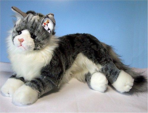 liegende graugetigerte Katze Maine Coon 35 cm, von Luigi Bochetta, Plüschkatze, Kuscheltier