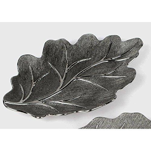 Formano Assiette Décorative Motif Feuille d'arbre Taille L 38 cm Argent Vieilli 26 cm