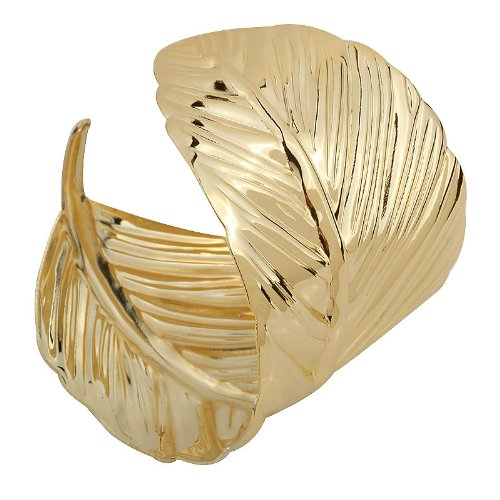 Yazilind Weit Stulpe-Armband er?ffnete Gold Metall ¨¹berzogenes Blatt -Armband Breite : 2In Punk - Goldene Göttin Kostüm Frauen