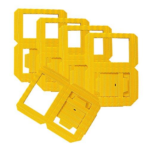 folia 9814/5 - Laternen Rohlinge, Laternenzuschnitte aus Wellpappe, 5 Stück, gelb, zum Zusammenstecken ohne Kleber, ideal zum Gestalten individueller Laternen oder Tischlichter