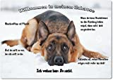 Merchandise for Fans Blechschild/Warnschild / Türschild - Aluminium - 20x30cm - - Willkommen in Meinem Zuhause - Motiv: Deutscher Schäferhund liegt im Schnee - 17