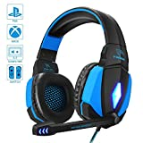 YINSAN PS4 Headset, Gaming Headset Kopfhörer für Nintendo Switch, Xbox One & Laptop, 3.5mm Noise abnehmbare Mikrofon, Over-Ear Kopfhörer mit 50MM Treiber & Extra 3,5mm Y-Klinkenadapter