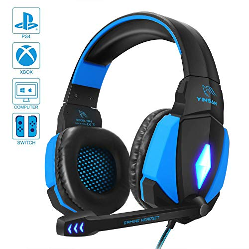 �rer für PS4 PC Xbox One, Gaming Headset Over-Ear mit Mikrofon, LED-Licht, Surround Sound, Noise Reduction, Volume Control für Mac Handy Nintendo Switch Laptop Tablet Mobile - Blau ()